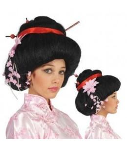 Peluca Geisha con FLores