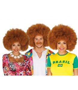 Peluca Afro Castaña