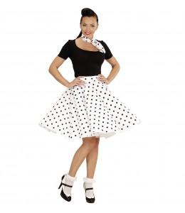 Falda Blanca lunares negros