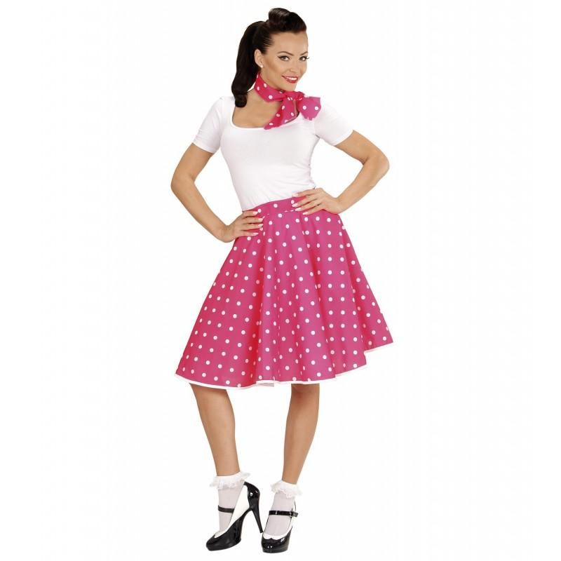 Lunar falda blanca y rosa