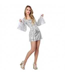 Disfraz de Disco Plata Mujer