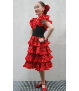 Disfraz de Sevillana Negro y Rojo Infantil