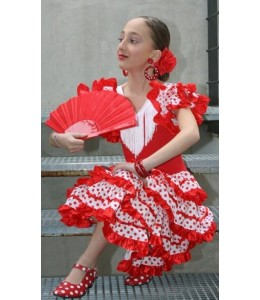 Disfraz de Sevillana Blanco y rojo Infantil