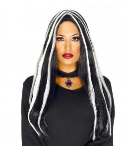 Peluca Melena Negra con mechas Blancas