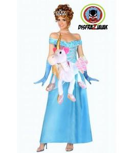 Disfraz de Princesa azul en unicornio