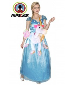 Disfraz de Princesa Azul brillos Unicornio