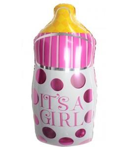 Globo biberon rosa de foil