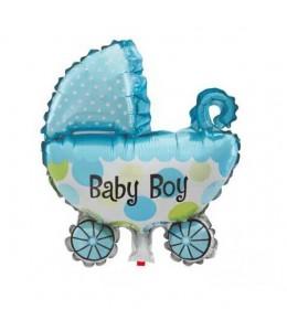 Globo carrito de bebe azul de foil