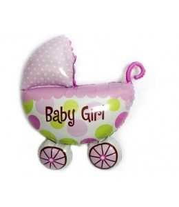 Globo carrito de bebe rosa de foil