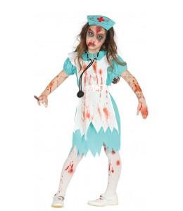 Disfraz de Enfermera Zombie Verde Infantil