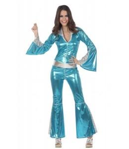 Disfraz de Buzo Disco Azul Mujer