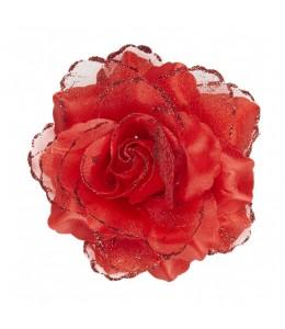 Flor con Pinza y Purpurina Roja