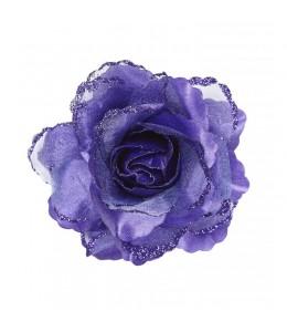 Flor con Pinza y Purpurina Morado