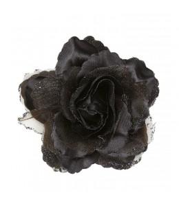 Flor con Pinza y Purpurina Negra