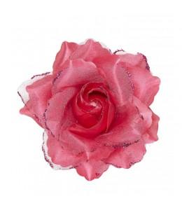 Flor con Pinza y Purpurina Rosa