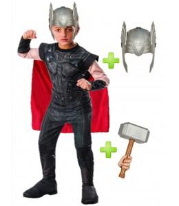 Disfraz de Thor con martillo y casco