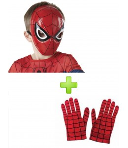 Mascara de Spiderman y guantes.