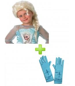 Peluca de Elsa de Frozen y guantes
