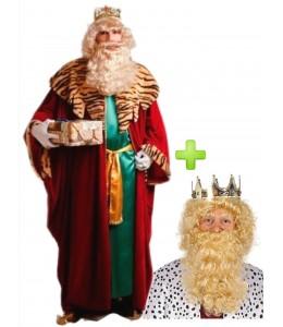 Rey Mago Gaspar con corona, peluca y barba