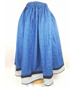 Falda Casera Flores Azul