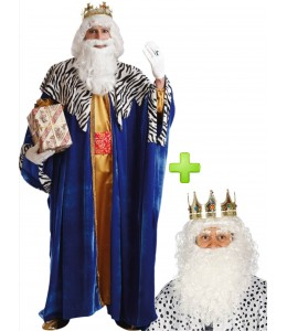 Disfraz de Rey Mago Melchor con corona, peluca y barba