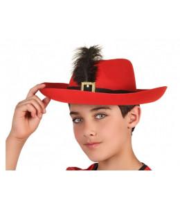 Sombrero Mosquetero Rojo Infantil