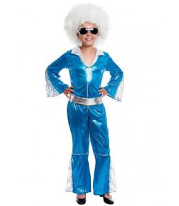 Disfraz de Disco Girl Azul Infantil
