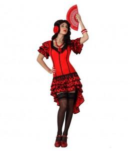 Disfraz de Sevillana Roja con Lunar Negro Corta  Genero-Mujer Talla-XL