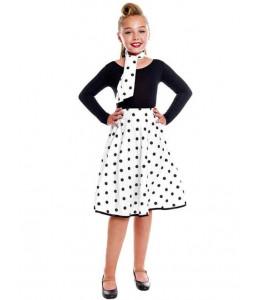Falda Blanca Lunares Negros Infantil