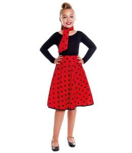 Falda Roja Lunares Negros Infantil