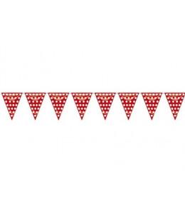 Gallardete Triangular Rojo con Lunar Blanco 5m