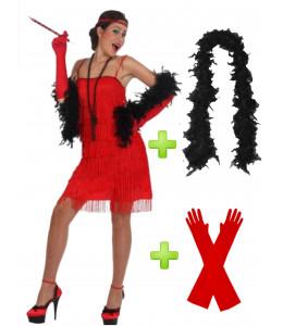 Disfraz de Charleston Rojo con boa y guantes.