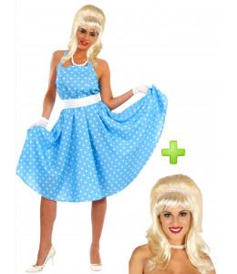 Disfraz de años 50 azul con peluca