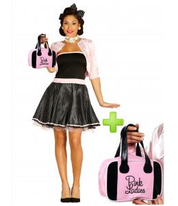 Disfraz de años 50 rosa con bolso