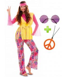 Disfraz de Hippie Rosa con set