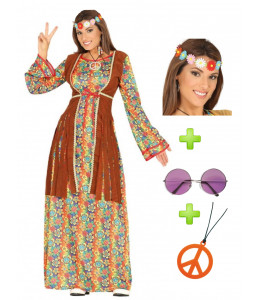 Disfraz de Hippie Flower Largo con set