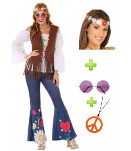 Disfraz de Hippie Marron Mujer con set