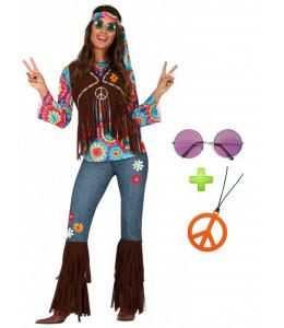 Disfraz de Hippie Fleco con Set