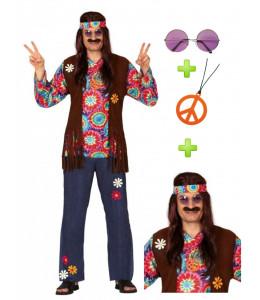 Disfraz Hippie Hombre Flecos con set