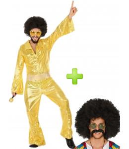 Disfraz de Disco Oro con peluca