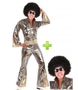 Disfraz de Disco Plata con peluca