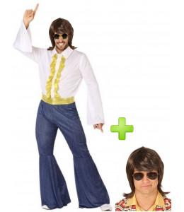 Disfraz de Disco Campanas Hombre con peluca