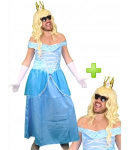 Disfraz de Princesa Azul hombre
