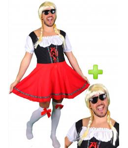 Disfraz de Tirolesa Roja para Hombre