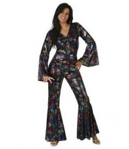 Disfraz buzo disco colores mujer