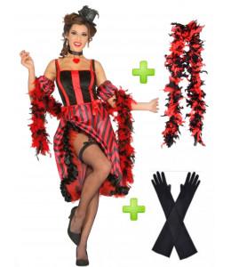 Disfraz Can Can Rojo con boa y guantes