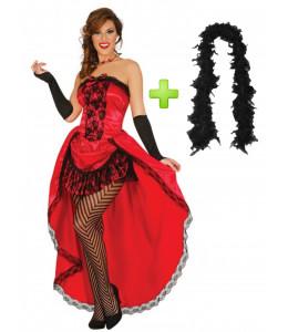 Disfraz de Can Can Mouling Rouge con boa