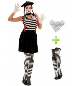 Disfraz de Mimo chica con medias y guantes