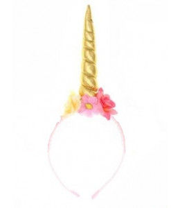 Diadema Cuerno Unicorni con Flores Surtidas
