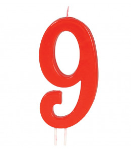 Vela Roja Nº 9, 12 cms